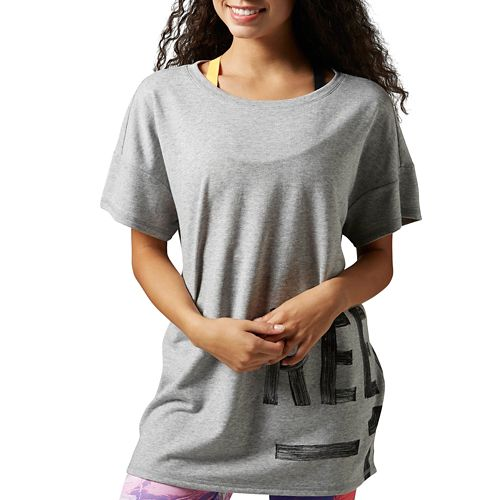 Womens Reebok Studio Favorites Tee Short Sleeve Non-Technical Tops - Grey Heather XL