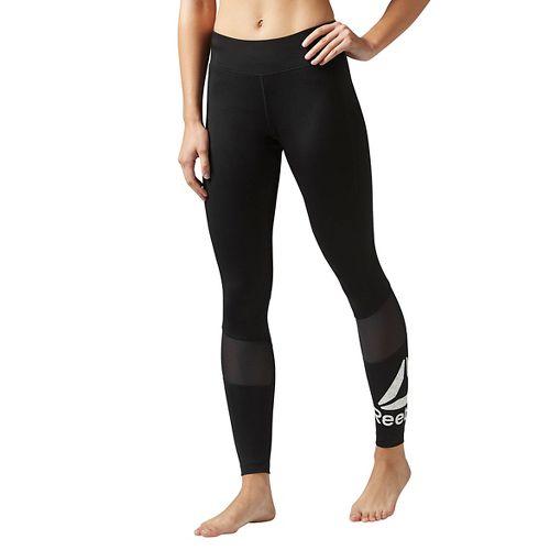Womens Reebok Workout Ready Graphic Tights & Leggings Pants - Black/White XXS
