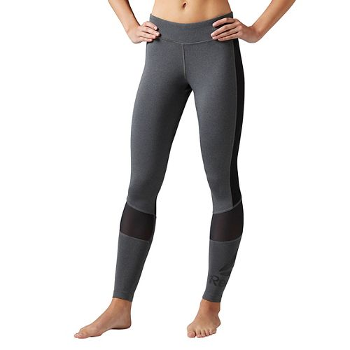 Womens Reebok Workout Ready Graphic Tights & Leggings Pants - Grey Heather S