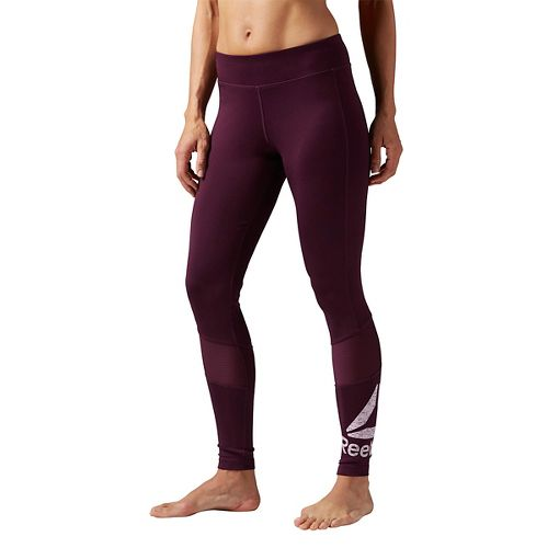 Womens Reebok Workout Ready Graphic Tights & Leggings Pants - Pacific Purple M