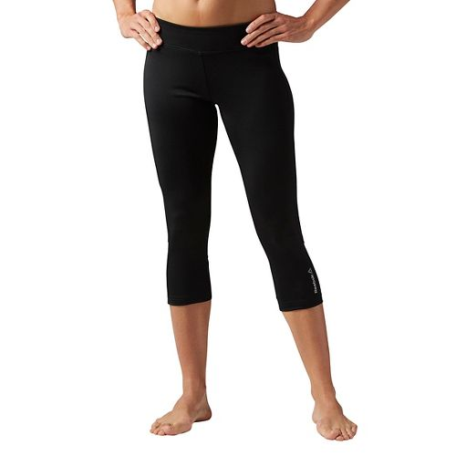 Womens Reebok Workout Ready Color Block Capri Tights & Leggings Pants - Black M