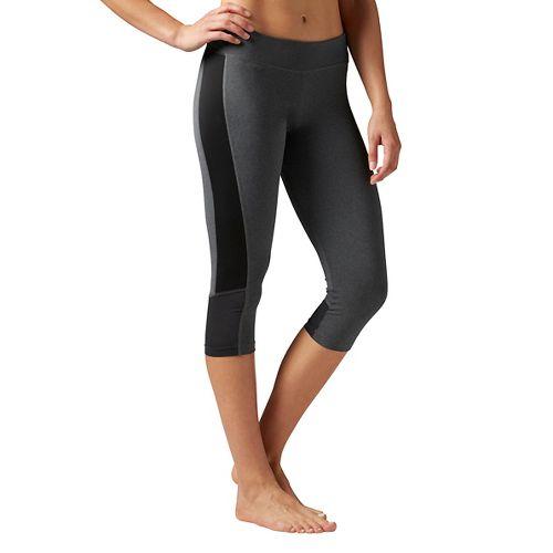 Womens Reebok Workout Ready Color Block Capri Tights & Leggings Pants - Black XS