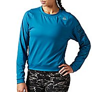 Womens Reebok Workout Ready Crew Neck Sweatshirt Long Sleeve Technical Tops