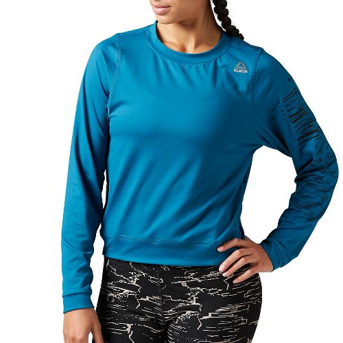 Womens Reebok Workout Ready Crew Neck Sweatshirt Long Sleeve Technical Tops - Emerald Tide L ...