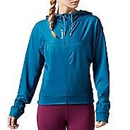 Womens Reebok Workout Ready Full-Zip Half-Zips & Hoodies Technical Tops