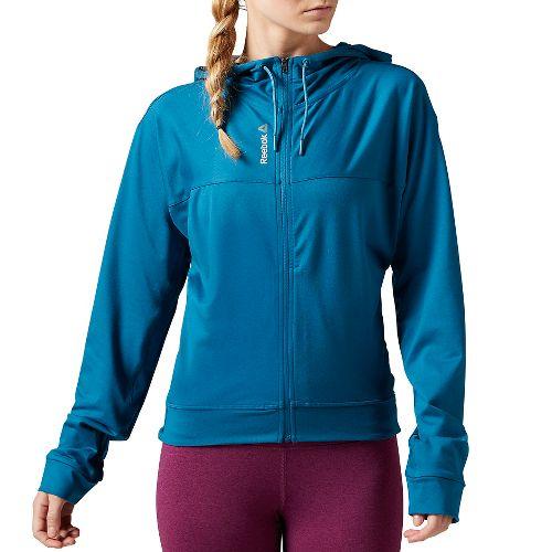 Womens Reebok Workout Ready Full-Zip Half-Zips & Hoodies Technical Tops - Emerald Tide L