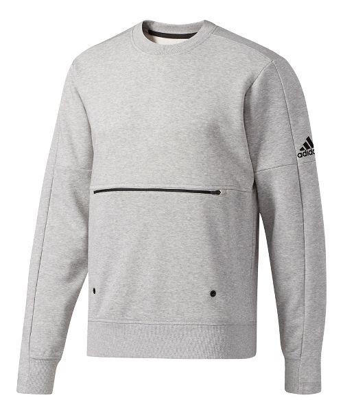 Mens Adidas Sport ID French Terry Long Sleeve Technical Tops - Medium Grey Heather M ...