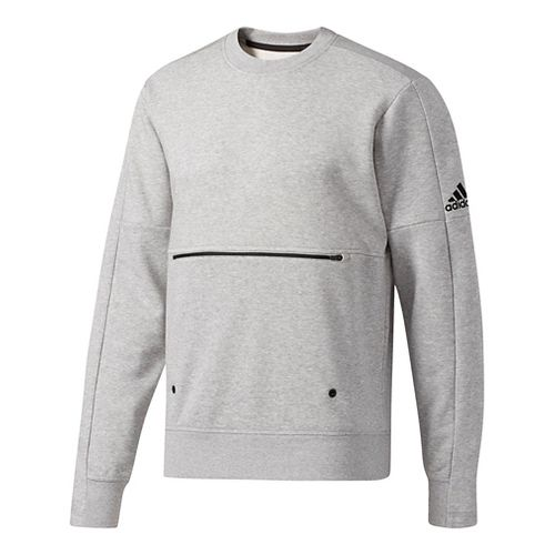 Mens Adidas Sport ID French Terry Long Sleeve Technical Tops - Medium Grey Heather S ...