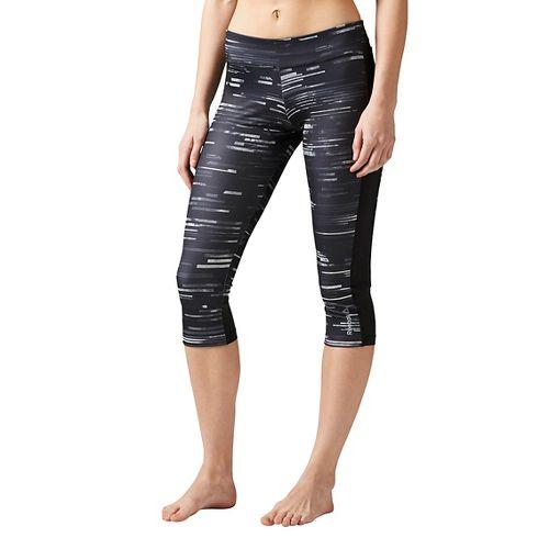 Womens Reebok Workout Ready Printed Capri Tights & Leggings Pants - Chalk XS