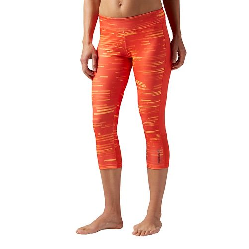 Womens Reebok Workout Ready Printed Capri Tights & Leggings Pants - Fire Spark XL