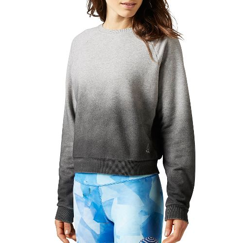 Womens Reebok Yoga Cover Up Long Sleeve Non-Technical Tops - Grey Heather/Black S