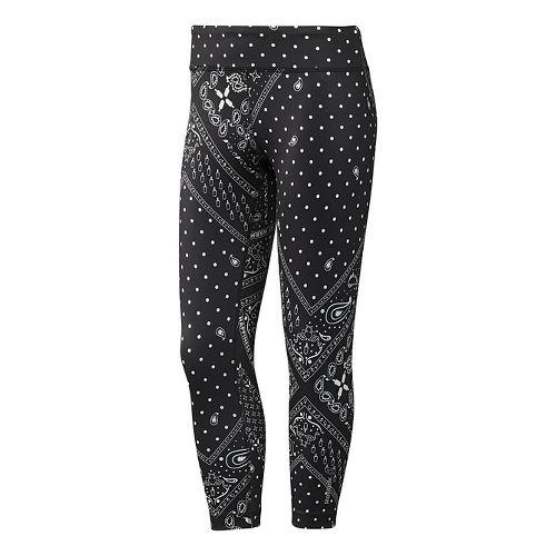 Womens Reebok Yoga Printed Capri Tights & Leggings Pants - Black M