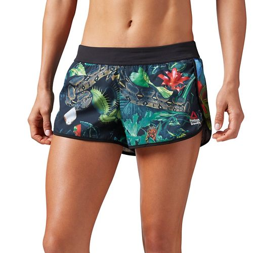 Womens Reebok CrossFit Hidden Jungle Lined Shorts - Black S