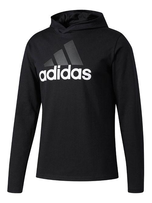 Mens Adidas Badge Of Sport Long-Sleeve Half-Zips & Hoodies Technical Tops - Black L