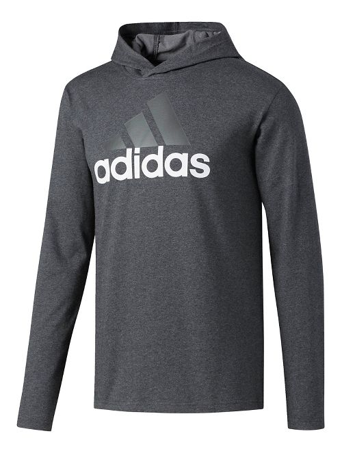 Mens Adidas Badge Of Sport Long-Sleeve Half-Zips & Hoodies Technical Tops - Dark Grey/Heather ...