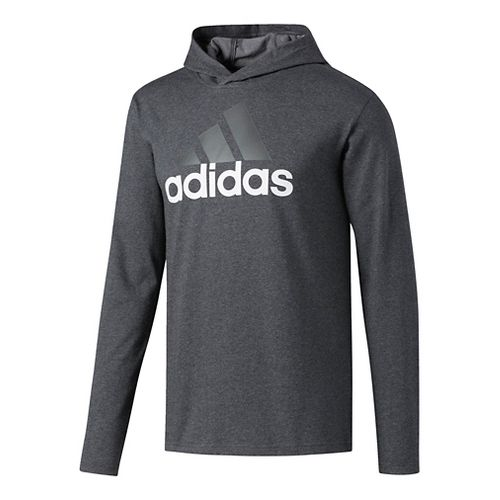 Mens Adidas Badge Of Sport Long-Sleeve Half-Zips & Hoodies Technical Tops - Dark Grey/Heather XXL