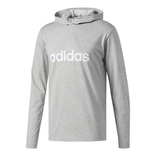 Mens Adidas Badge Of Sport Long-Sleeve Half-Zips & Hoodies Technical Tops - Medium Grey/Heather ...