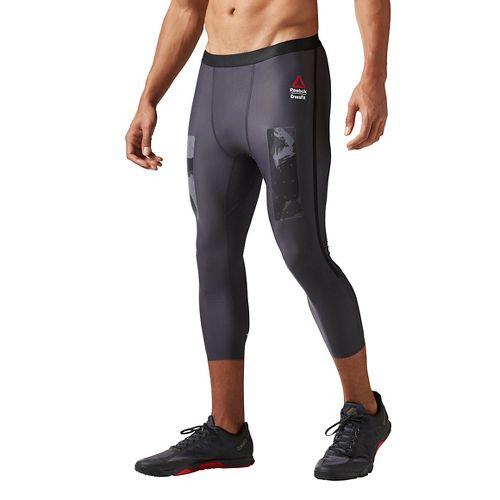 Mens Reebok CrossFit Compression 3/4 Pant Tights & Leggings Pants - Lead S