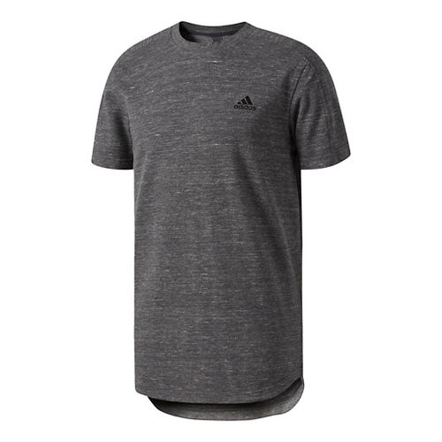 Mens Adidas Essentials Heathered Pique Tee Short Sleeve Technical Tops - Charcoal L