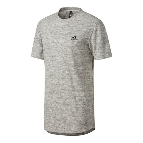 Mens Adidas Essentials Heathered Pique Tee Short Sleeve Technical Tops - Grey XL