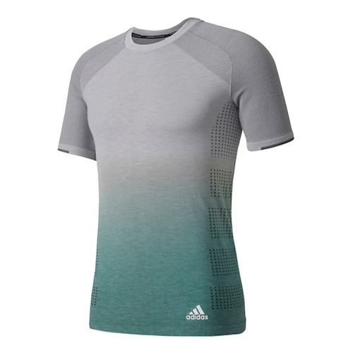 Mens Adidas Primeknit Wool Tee Short Sleeve Technical Tops - Grey/Green L