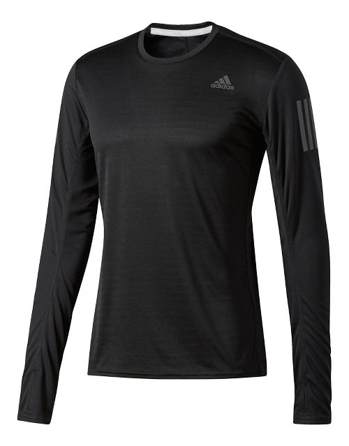 Mens Adidas Response Tee Long Sleeve Technical Tops - Black XL