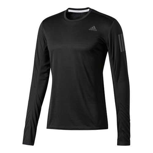 Mens Adidas Response Tee Long Sleeve Technical Tops - Black M