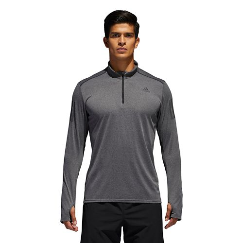 Mens Adidas Response Half-Zip Tee Long Sleeve Technical Tops - Grey S