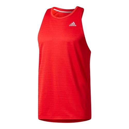 Mens Adidas Response Singlet Short Sleeve Technical Tops - Scarlet XL