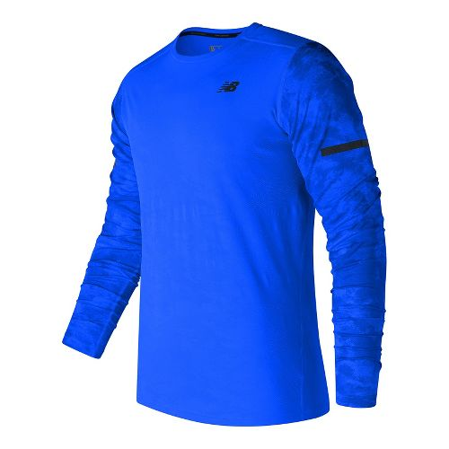 Mens New Balance Max Intensity Long Sleeve Technical Tops - Electric Blue Print S