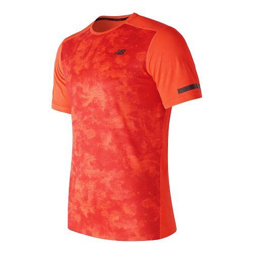 Mens New Balance Max Intensity Short Sleeve Technical Tops - Alpha Orange Print M