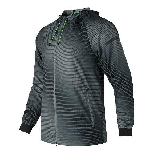 Mens New Balance Windcheater Hybrid Rain Jackets - Black Print S