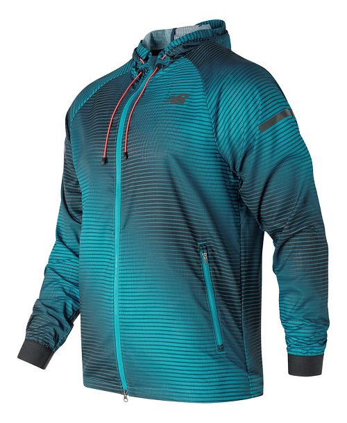 Mens New Balance Windcheater Hybrid Rain Jackets - Blue Print L