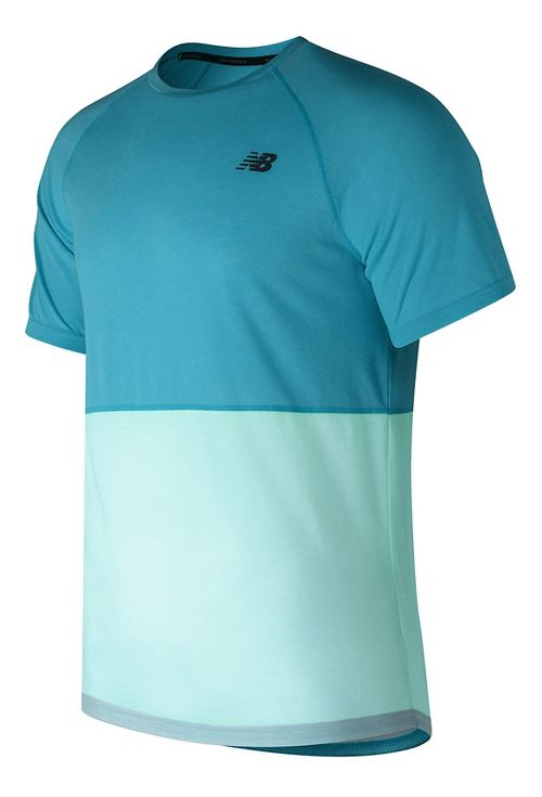 Mens New Balance CBK Breathe Short Sleeve Technical Tops - Blue Heather M