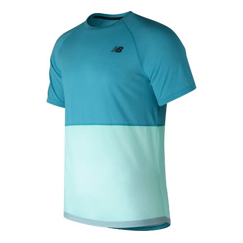 Mens New Balance CBK Breathe Short Sleeve Technical Tops - Blue Heather S
