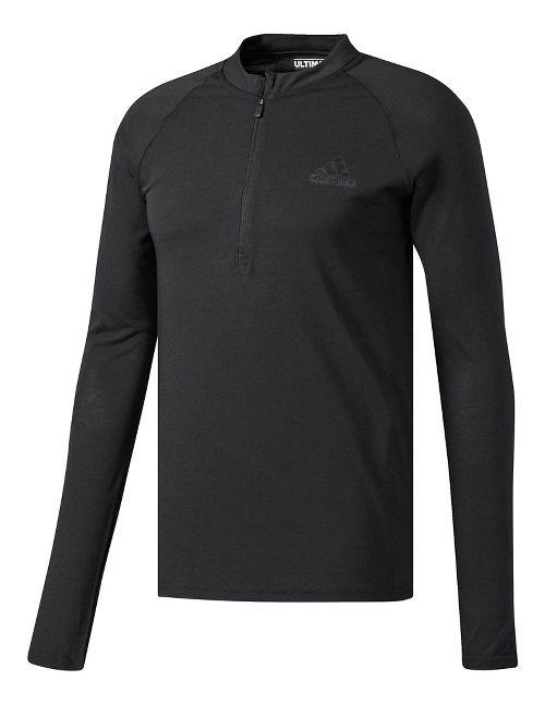 Mens Adidas Ultimate Half-Zip Tee Long Sleeve Technical Tops - Black XL
