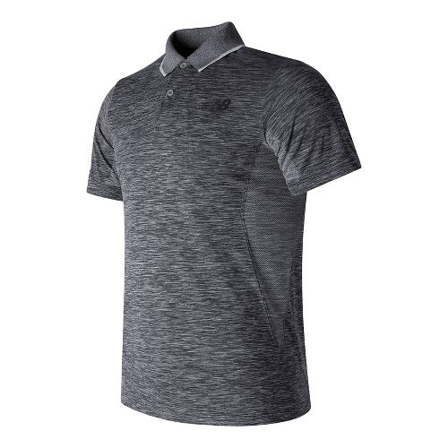 Mens New Balance M4M Seamless Polo Short Sleeve Technical Tops - Athletic Grey M