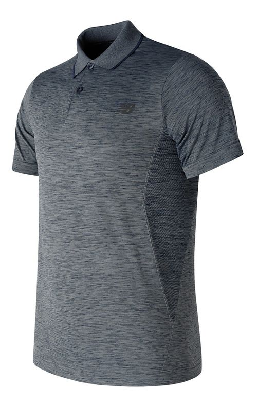 Mens New Balance M4M Seamless Polo Short Sleeve Technical Tops - Thunder M