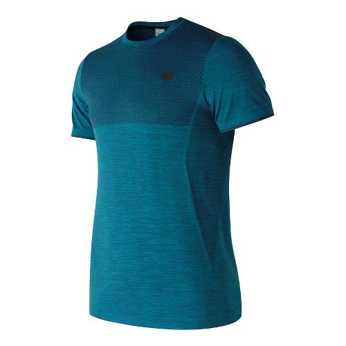 Mens New Balance M4M Seamless Short Sleeve Technical Tops - Blue Heather L