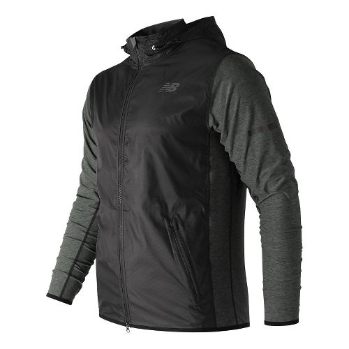 Mens New Balance N Transit Running Jackets - Heather Charcoal S