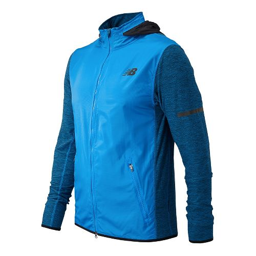 Mens New Balance N Transit Running Jackets - Electric Blue L