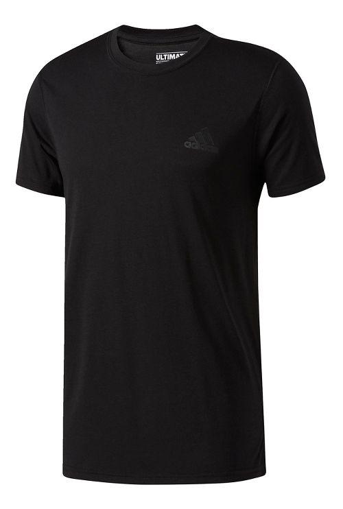 Mens adidas Ultimate Crew Tee Short Sleeve Technical Tops - Black/Black L