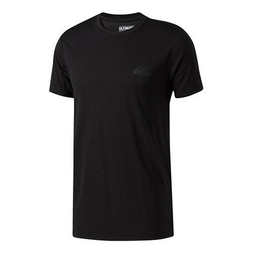 Mens Adidas Ultimate Crew Tee Short Sleeve Technical Tops - Black/Black XL