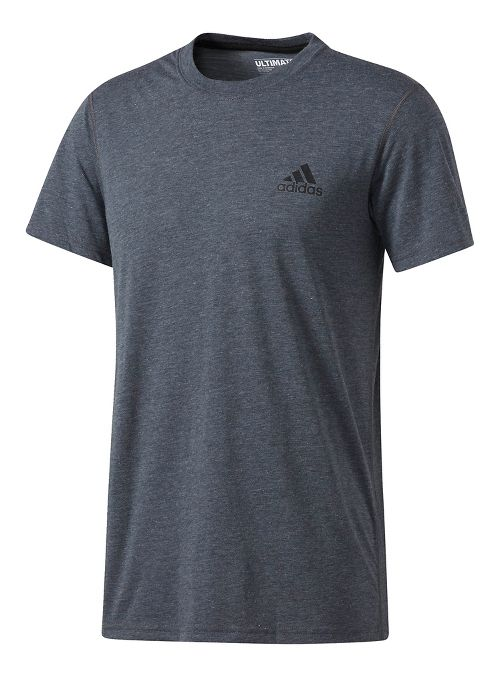 Mens adidas Ultimate Crew Tee Short Sleeve Technical Tops - Dark Grey Heather XL