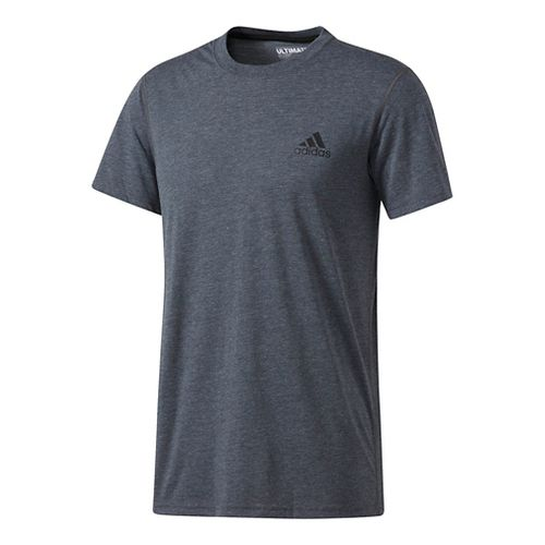 Mens Adidas Ultimate Crew Tee Short Sleeve Technical Tops - Black/Black L