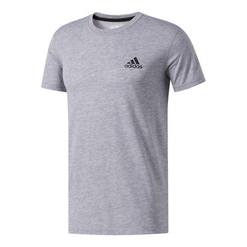 Mens adidas Ultimate Crew Tee Short Sleeve Technical Tops - Medium Grey Heather L