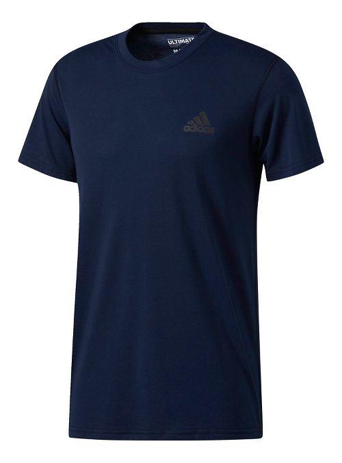 Mens adidas Ultimate Crew Tee Short Sleeve Technical Tops - Navy M