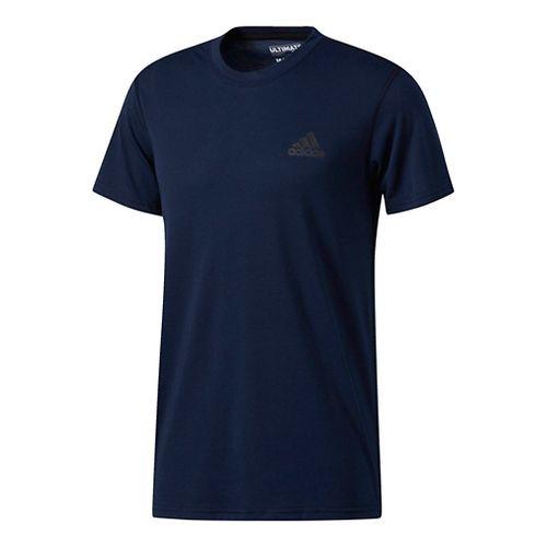 Mens Adidas Ultimate Crew Tee Short Sleeve Technical Tops - Navy L