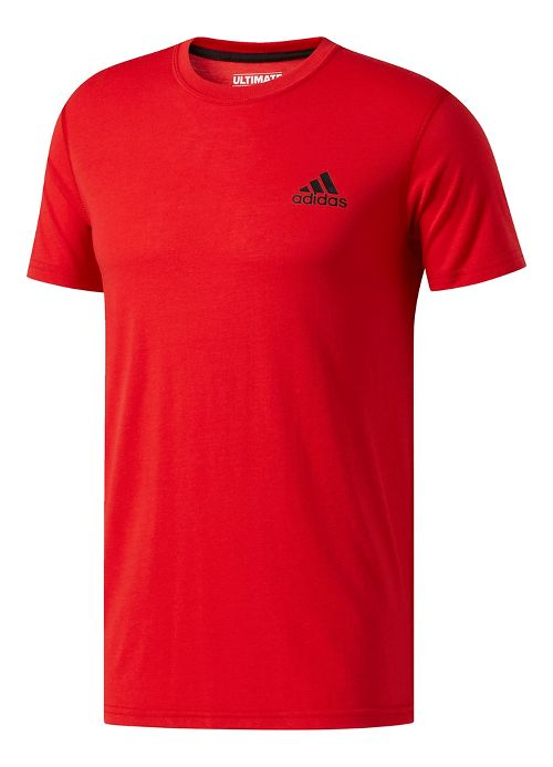 Mens adidas Ultimate Crew Tee Short Sleeve Technical Tops - Red XXL
