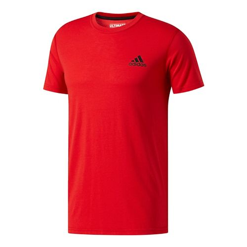Mens Adidas Ultimate Crew Tee Short Sleeve Technical Tops - Red L